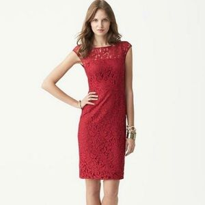 Banana Republic Red Lace Dress Fitted Sheath 0